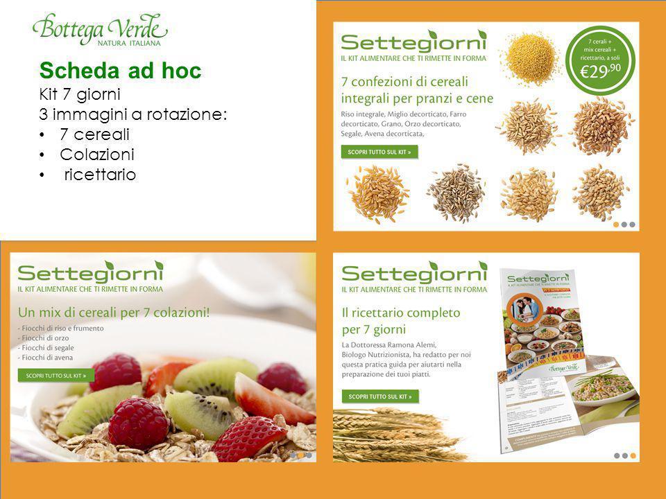 Scheda ad hoc Kit 7 giorni 3 immagini a rotazione: 7 cereali Colazioni ricettario