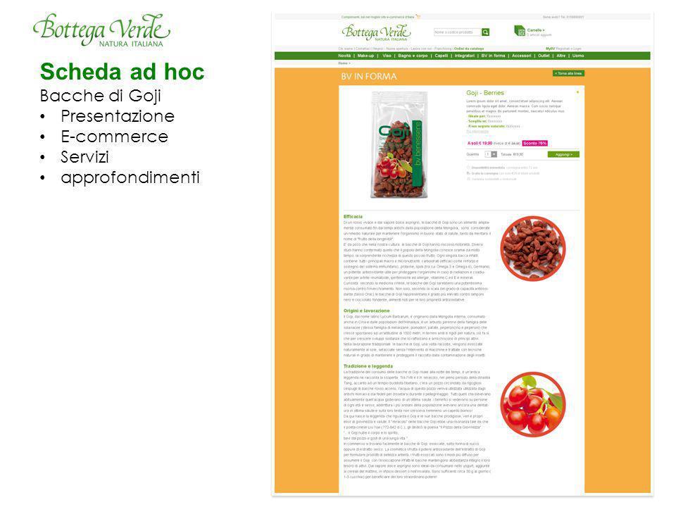 Scheda ad hoc Bacche di Goji Presentazione E-commerce Servizi approfondimenti
