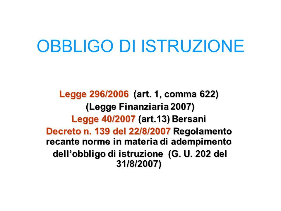 Legge 296/2006 (art. 1, comma 622) (Legge Finanziaria 2007) (Legge Finanziaria 2007) Legge 40/2007 (art.13) Bersani Decreto n. 139 del 22/8/2007 Regol