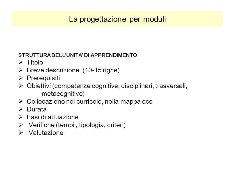 La progettazione per moduli STRUTTURA DELL'UNITA' DI APPRENDIMENTO  Titolo  Breve descrizione (10-15 righe)  Prerequisiti  Obiettivi (competenze c