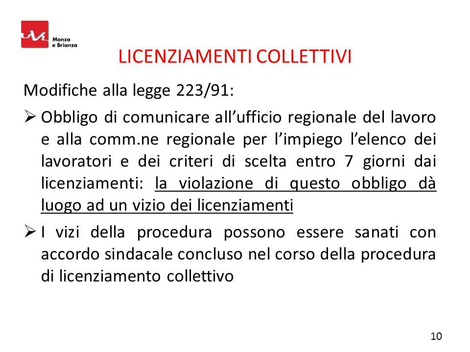 LICENZIAMENTI COLLETTIVI Modifiche alla legge 223/91:  Obbligo di comunicare all'ufficio regionale del lavoro e alla comm.ne regionale per l'impiego