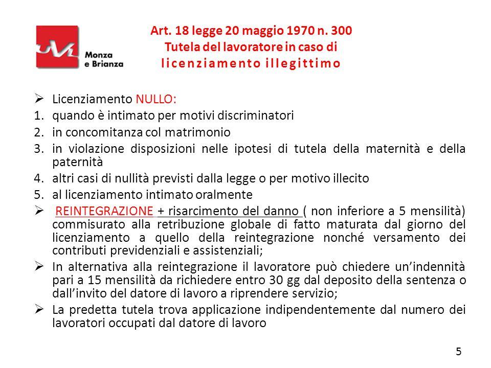 Art. 18 legge 20 maggio 1970 n. 300 Tutela del lavoratore in caso di licenziamento illegittimo  Licenziamento NULLO: 1.quando è intimato per motivi d