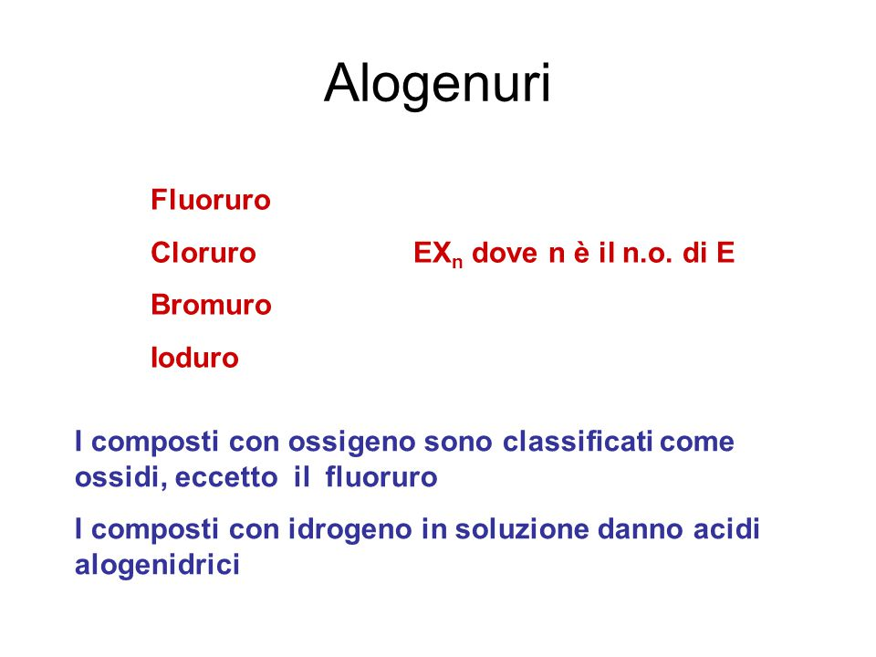 Alogenuri Fluoruro CloruroEX n dove n è il n.o.