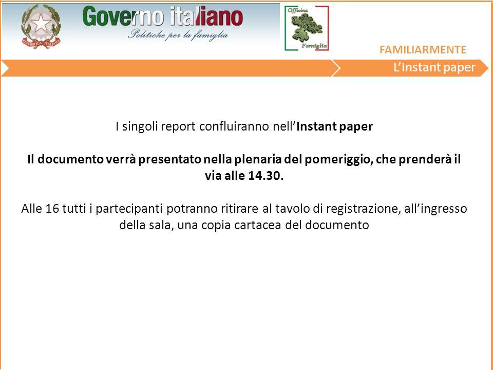 I singoli report confluiranno nell'Instant paper Il documento verrà presentato nella plenaria del pomeriggio, che prenderà il via alle 14.30.
