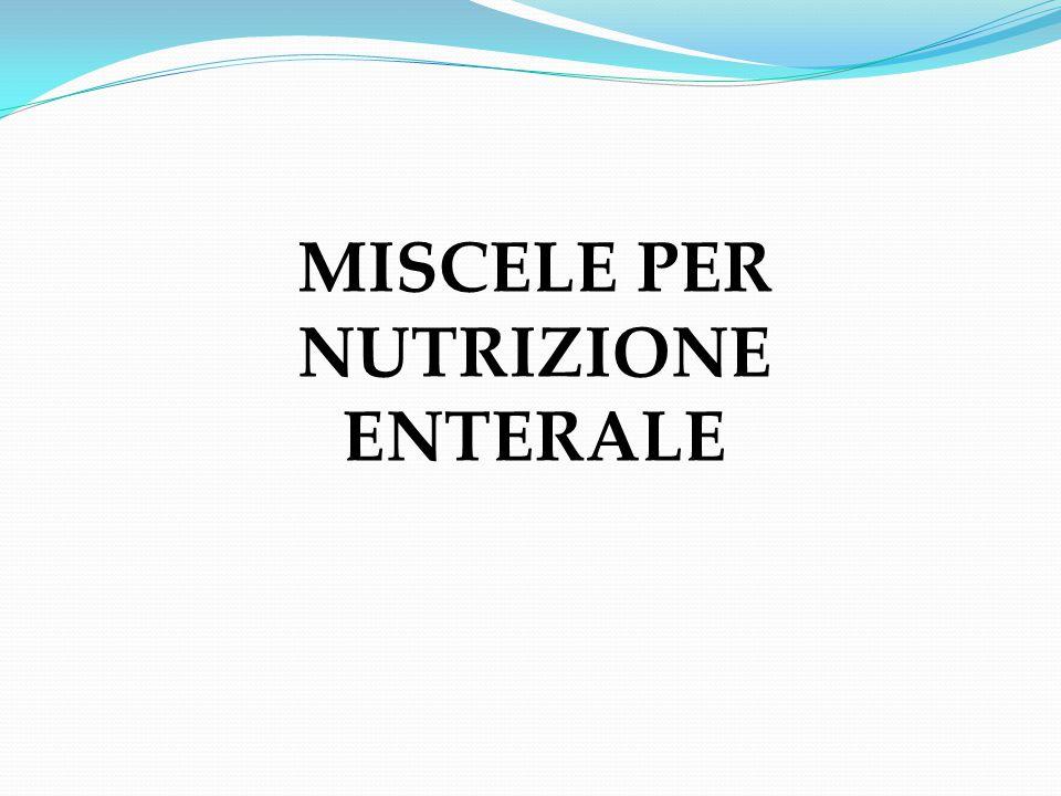 DIETE PER NUTRIZIONE ENTERALE Effettuare una valutazione della malattia di base del paziente Calcolare i fabbisogni del paziente (calorico, proteico, idrico) Prima di scegliere la miscela per NE, è necessario: