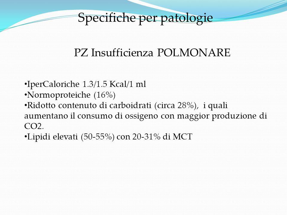 IperCaloriche 1.3/1.5 Kcal/1 ml Normoproteiche (16%) Ridotto contenuto di carboidrati (circa 28%), i quali aumentano il consumo di ossigeno con maggio
