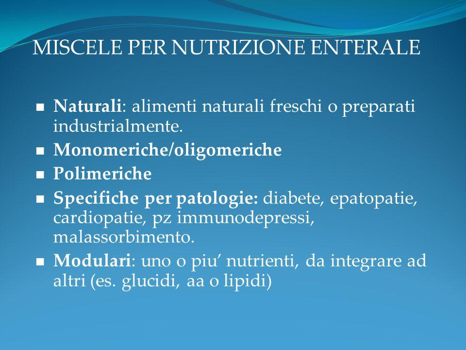 MISCELE PER NUTRIZIONE ENTERALE Naturali: alimenti naturali freschi o preparati industrialmente. Monomeriche/oligomeriche Polimeriche Specifiche per p