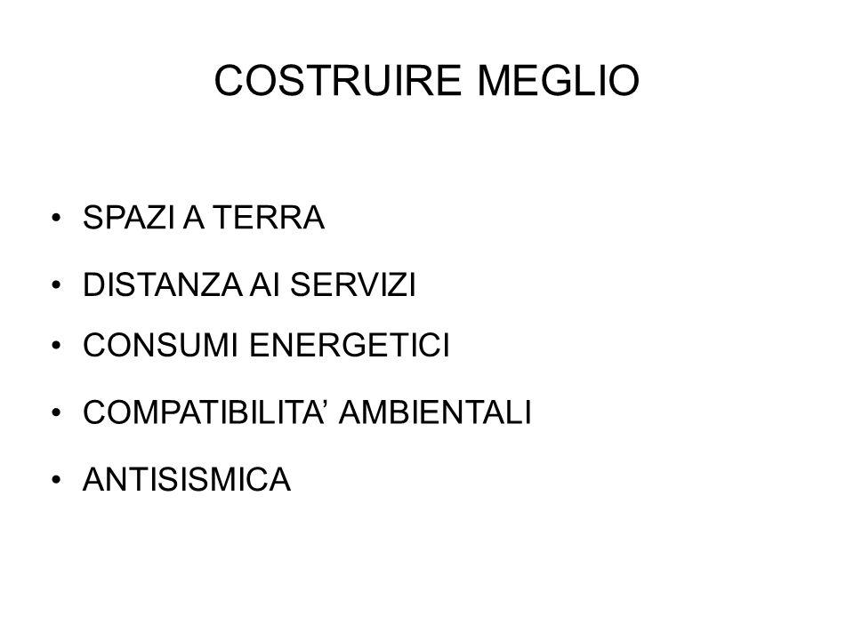 COSTRUIRE MEGLIO ANTISISMICA COMPATIBILITA' AMBIENTALI CONSUMI ENERGETICI DISTANZA AI SERVIZI SPAZI A TERRA
