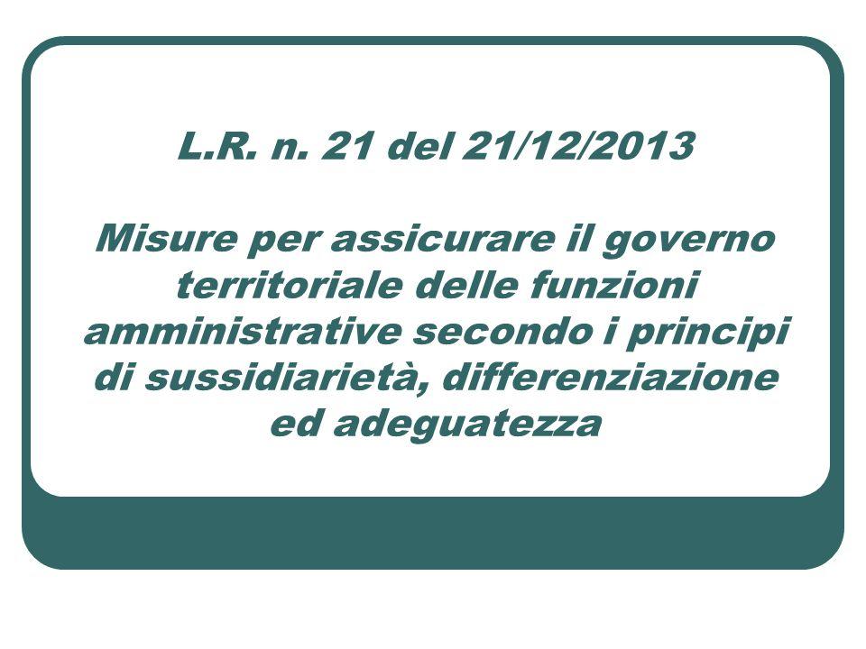 L.R. n. 21 del 21/12/2013 Misure per assicurare il governo territoriale delle funzioni amministrative secondo i principi di sussidiarietà, differenzia