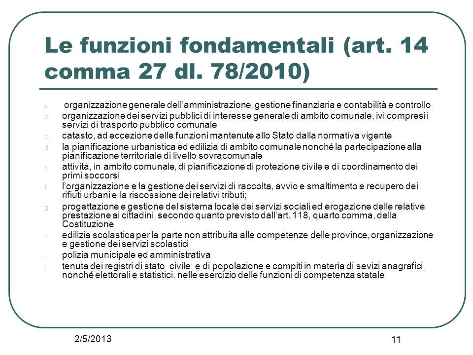 2/5/2013 11 Le funzioni fondamentali (art. 14 comma 27 dl. 78/2010) a. organizzazione generale dell'amministrazione, gestione finanziaria e contabilit