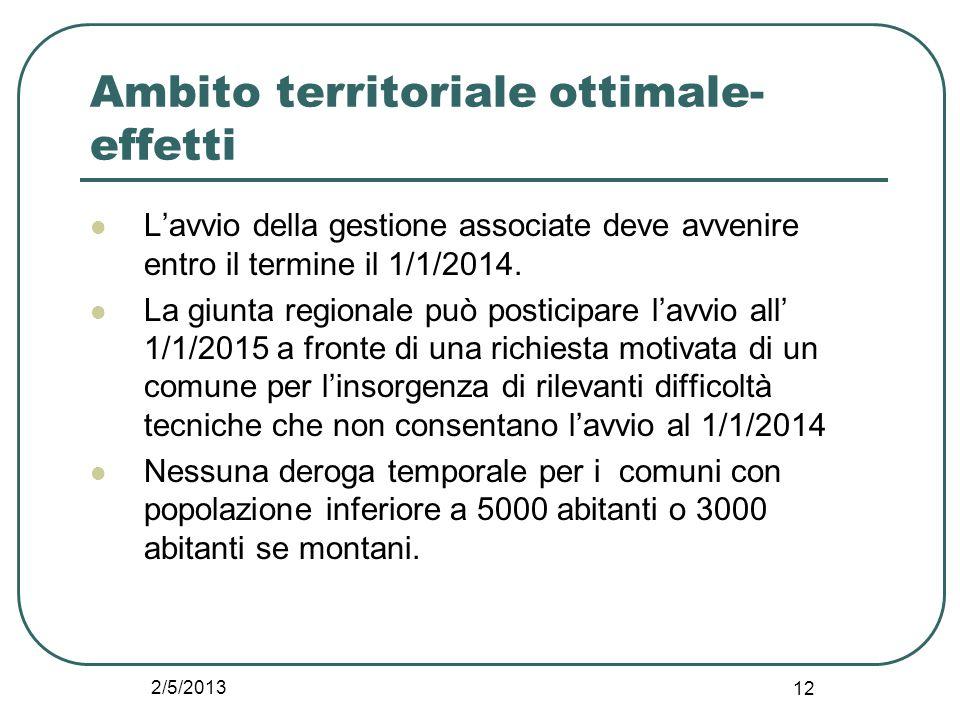 2/5/2013 12 Ambito territoriale ottimale- effetti L'avvio della gestione associate deve avvenire entro il termine il 1/1/2014. La giunta regionale può