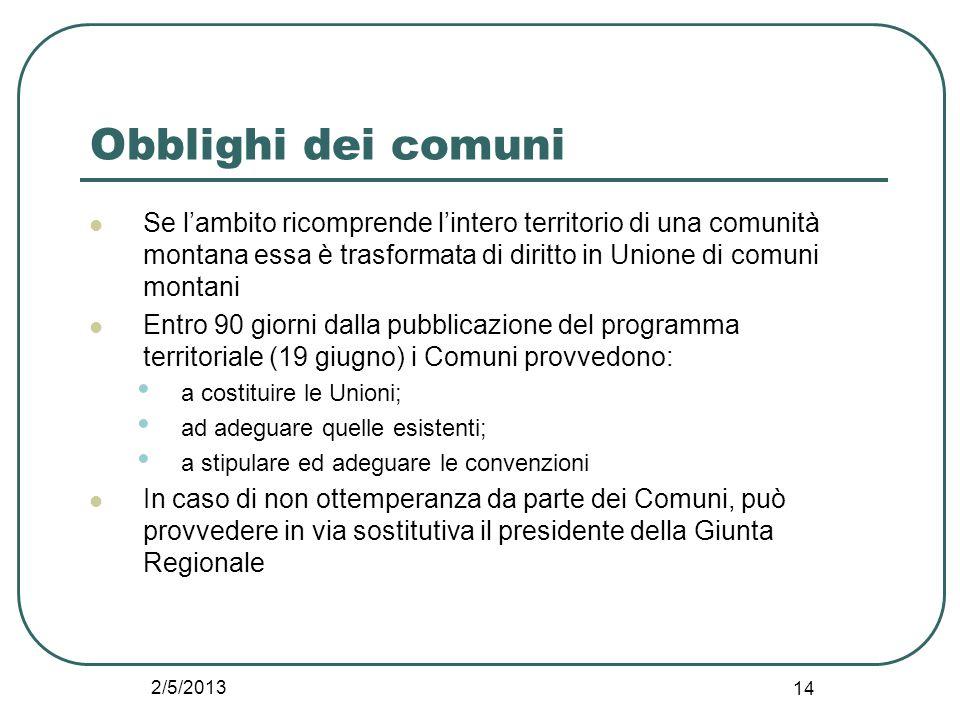 2/5/2013 14 Obblighi dei comuni Se l'ambito ricomprende l'intero territorio di una comunità montana essa è trasformata di diritto in Unione di comuni