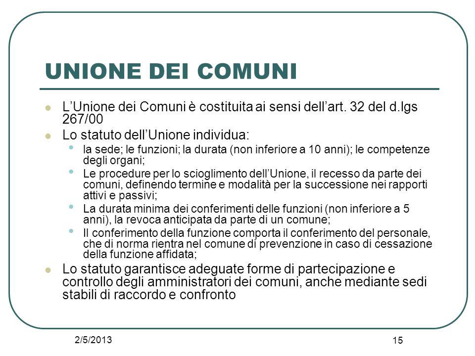 2/5/2013 15 UNIONE DEI COMUNI L'Unione dei Comuni è costituita ai sensi dell'art. 32 del d.lgs 267/00 Lo statuto dell'Unione individua: la sede; le fu