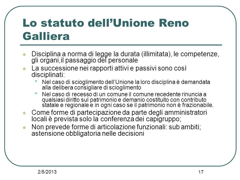 2/5/2013 17 Lo statuto dell'Unione Reno Galliera Disciplina a norma di legge la durata (illimitata), le competenze, gli organi,il passaggio del person