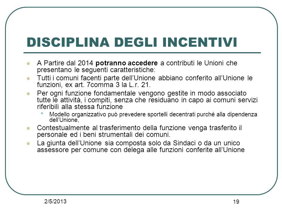 2/5/2013 19 DISCIPLINA DEGLI INCENTIVI A Partire dal 2014 potranno accedere a contributi le Unioni che presentano le seguenti caratteristiche: Tutti i
