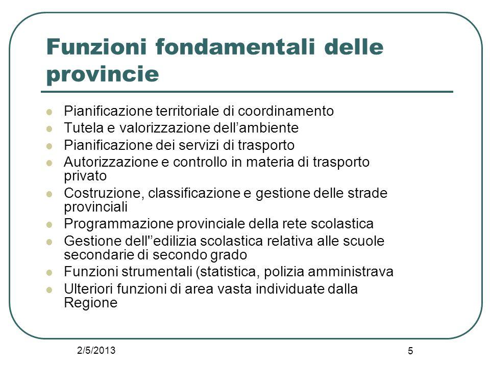 2/5/2013 5 Funzioni fondamentali delle provincie Pianificazione territoriale di coordinamento Tutela e valorizzazione dell'ambiente Pianificazione dei