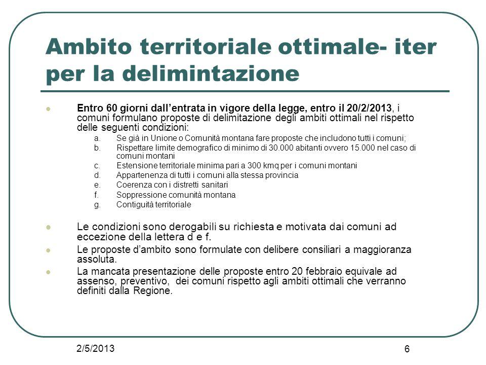 2/5/2013 6 Ambito territoriale ottimale- iter per la delimintazione Entro 60 giorni dall'entrata in vigore della legge, entro il 20/2/2013, i comuni f