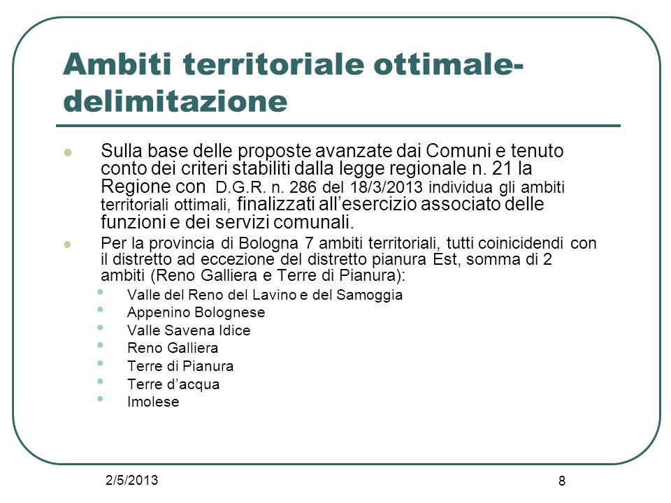 2/5/2013 8 Ambiti territoriale ottimale- delimitazione Sulla base delle proposte avanzate dai Comuni e tenuto conto dei criteri stabiliti dalla legge
