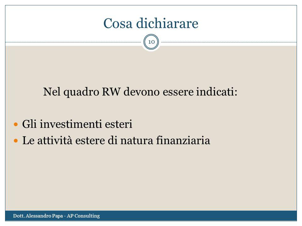 Cosa dichiarare Nel quadro RW devono essere indicati: Gli investimenti esteri Le attività estere di natura finanziaria 10 Dott. Alessandro Papa - AP C