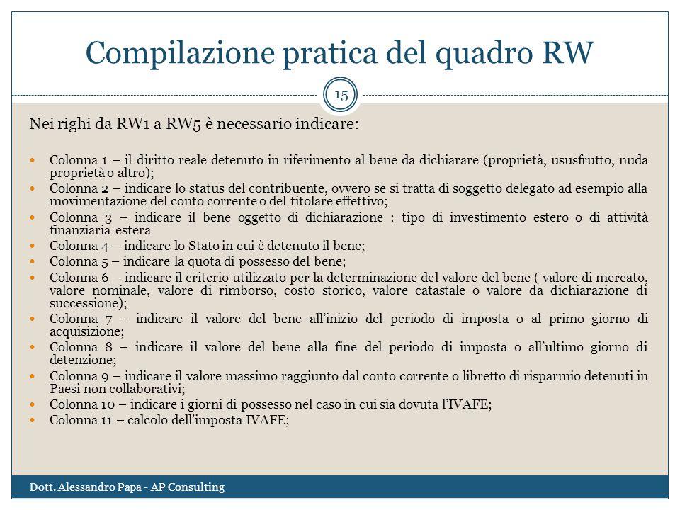 Compilazione pratica del quadro RW Dott. Alessandro Papa - AP Consulting 15 Nei righi da RW1 a RW5 è necessario indicare: Colonna 1 – il diritto reale