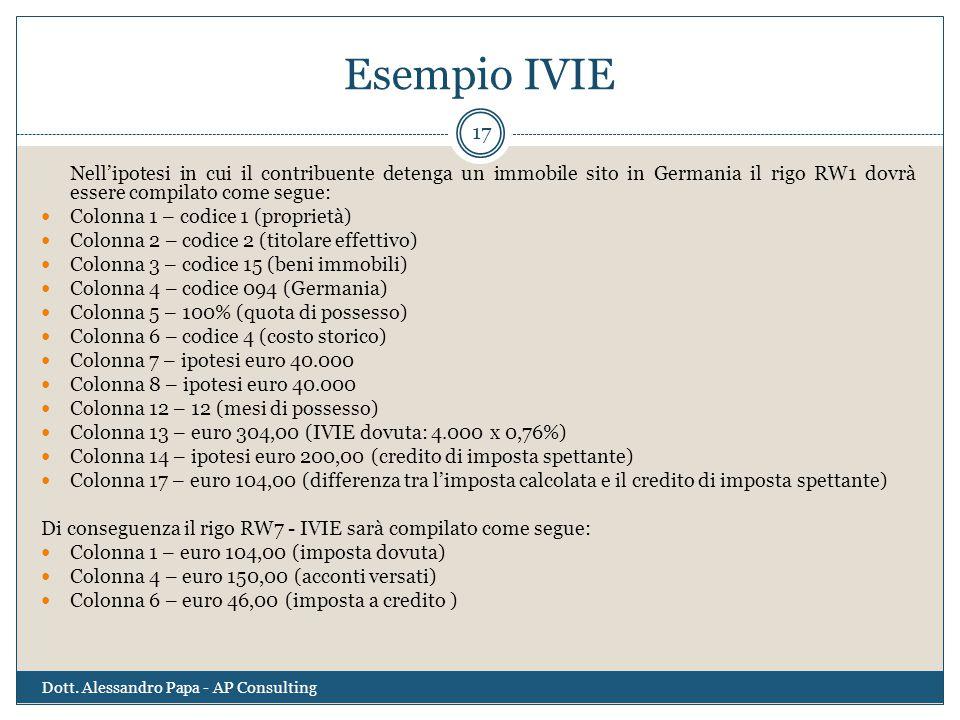 Esempio IVIE Dott. Alessandro Papa - AP Consulting 17 Nell'ipotesi in cui il contribuente detenga un immobile sito in Germania il rigo RW1 dovrà esser