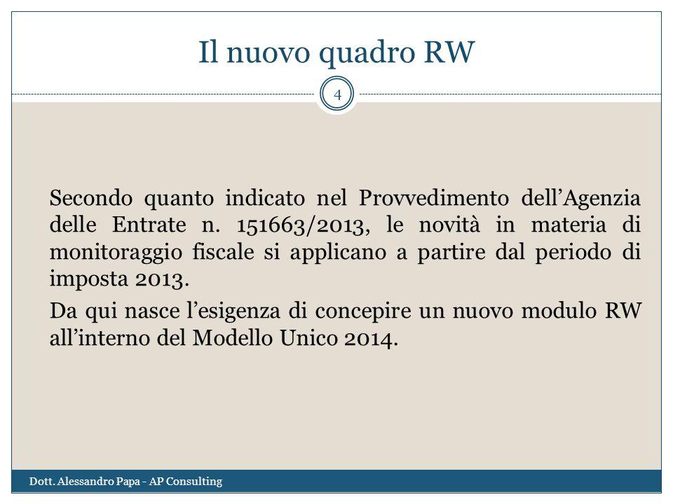 Il nuovo quadro RW Secondo quanto indicato nel Provvedimento dell'Agenzia delle Entrate n. 151663/2013, le novità in materia di monitoraggio fiscale s