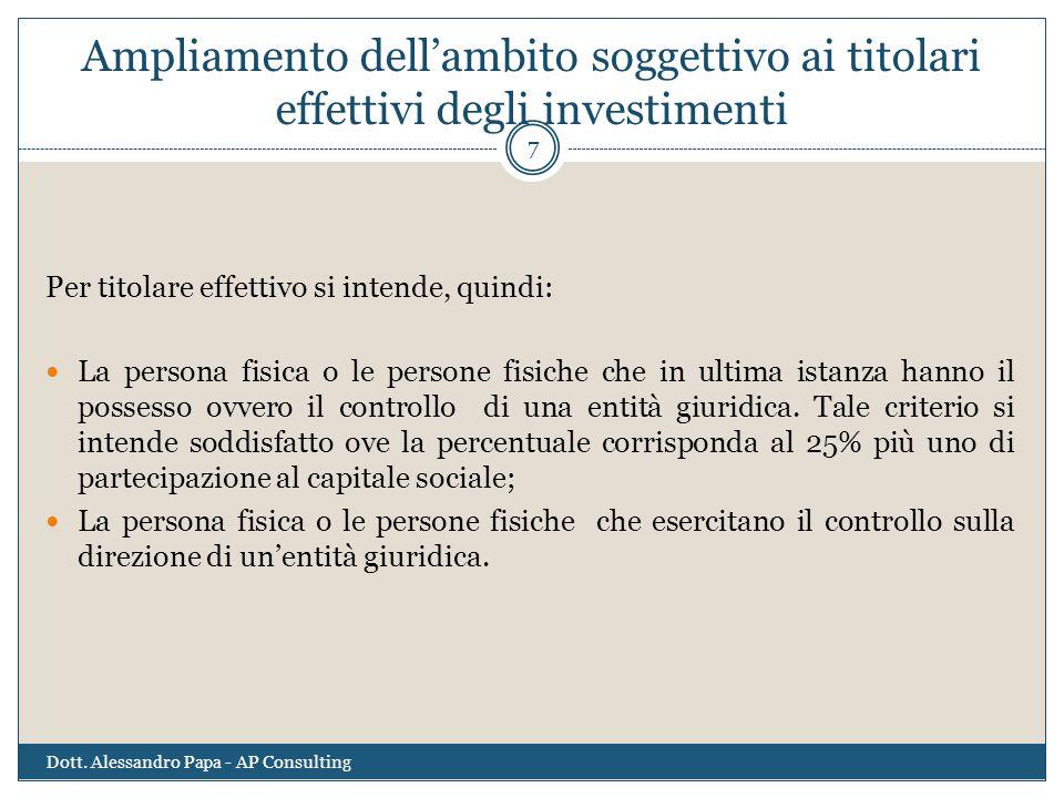 Ampliamento dell'ambito soggettivo ai titolari effettivi degli investimenti Per titolare effettivo si intende, quindi: La persona fisica o le persone
