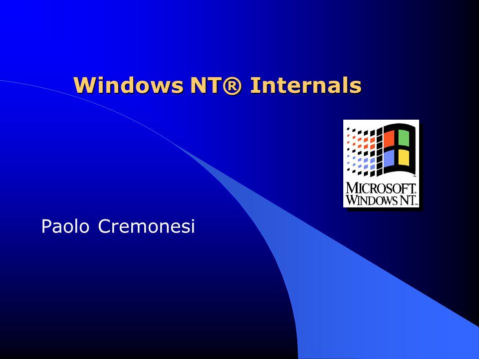 122 Process-Based Windows NT Code: System Startup Processes l Idle: process id 0  Parte dell'immagine di sistema  Ospita i thread che sono idle  Non è un vero processo o un thread  Spesso è indicato come System Process