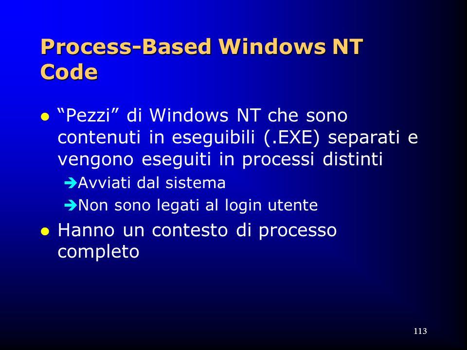 113 Process-Based Windows NT Code l Pezzi di Windows NT che sono contenuti in eseguibili (.EXE) separati e vengono eseguiti in processi distinti  Avviati dal sistema  Non sono legati al login utente l Hanno un contesto di processo completo