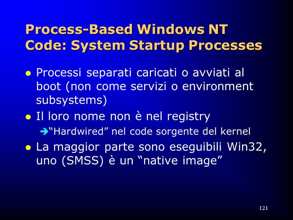 121 Process-Based Windows NT Code: System Startup Processes l Processi separati caricati o avviati al boot (non come servizi o environment subsystems) l Il loro nome non è nel registry  Hardwired nel code sorgente del kernel l La maggior parte sono eseguibili Win32, uno (SMSS) è un native image