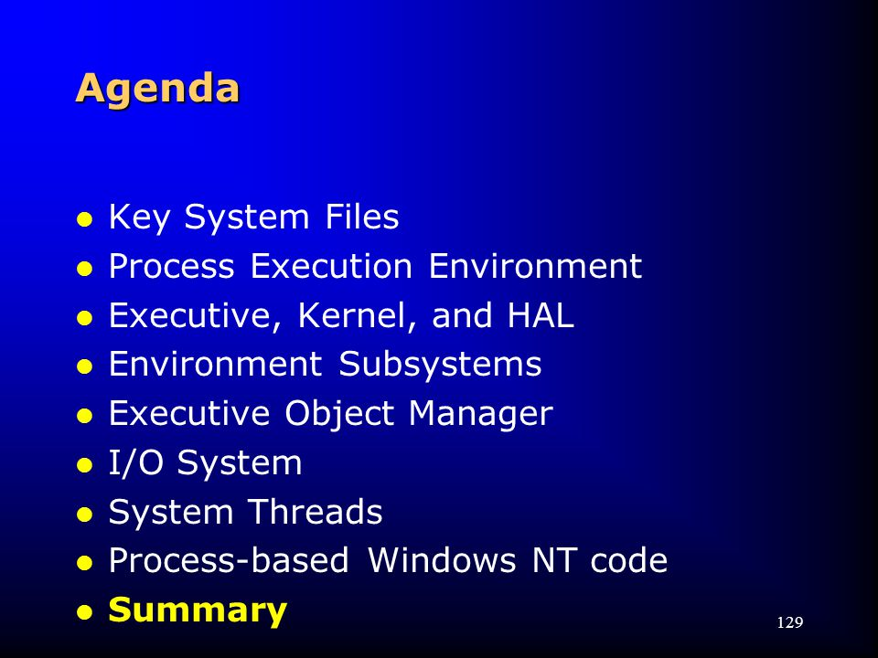 129 Agenda l Key System Files l Process Execution Environment l Executive, Kernel, and HAL l Environment Subsystems l Executive Object Manager l I/O System l System Threads l Process-based Windows NT code l Summary
