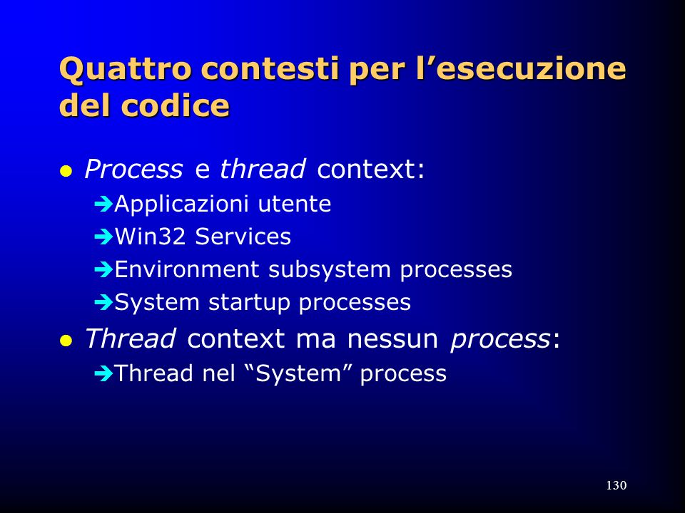 130 Quattro contesti per l'esecuzione del codice l Process e thread context:  Applicazioni utente  Win32 Services  Environment subsystem processes  System startup processes l Thread context ma nessun process:  Thread nel System process