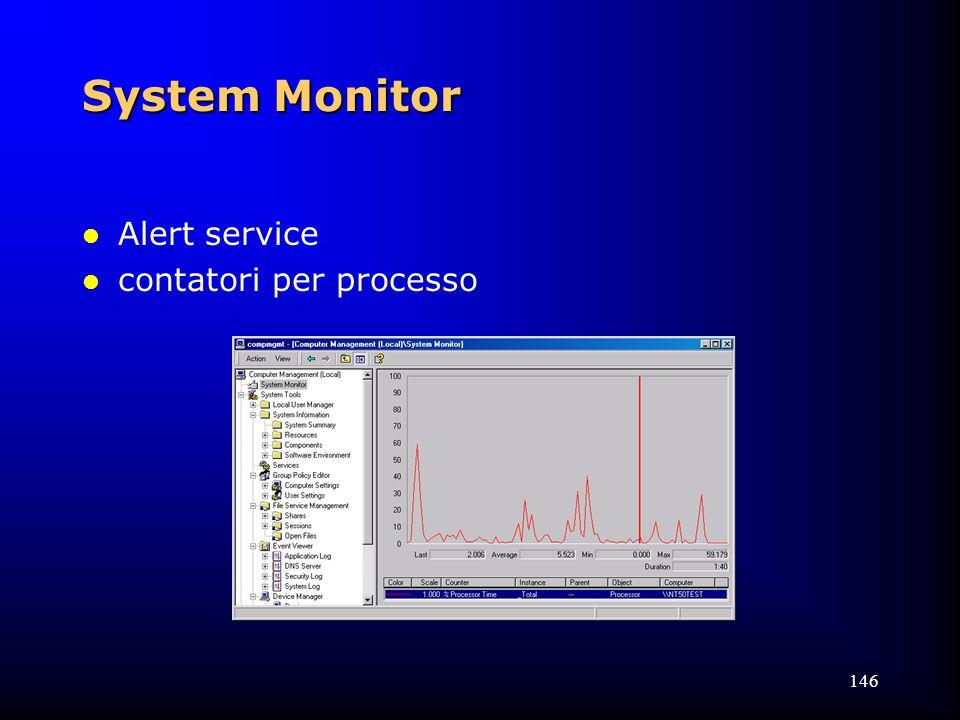 146 System Monitor l Alert service l contatori per processo