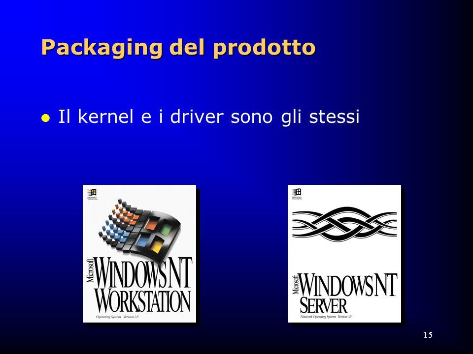 15 Packaging del prodotto l Il kernel e i driver sono gli stessi