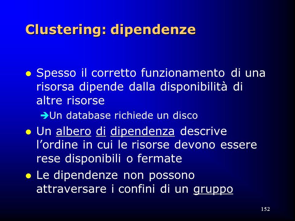 152 Clustering: dipendenze l Spesso il corretto funzionamento di una risorsa dipende dalla disponibilità di altre risorse  Un database richiede un disco l Un albero di dipendenza descrive l'ordine in cui le risorse devono essere rese disponibili o fermate l Le dipendenze non possono attraversare i confini di un gruppo