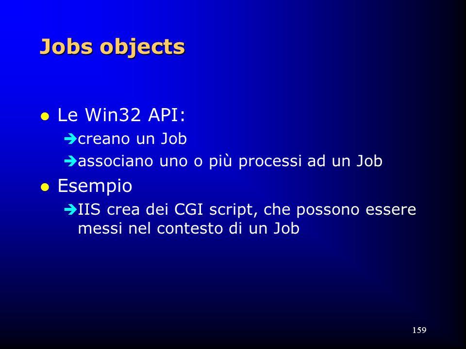 159 Jobs objects l Le Win32 API:  creano un Job  associano uno o più processi ad un Job l Esempio  IIS crea dei CGI script, che possono essere messi nel contesto di un Job
