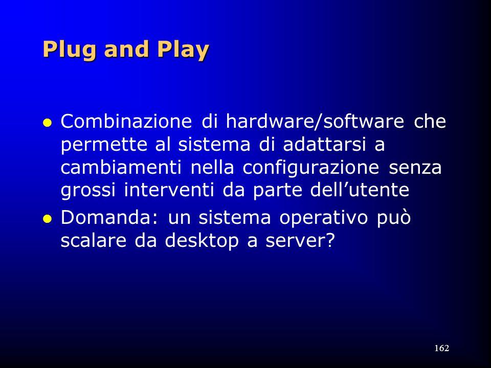 162 Plug and Play l Combinazione di hardware/software che permette al sistema di adattarsi a cambiamenti nella configurazione senza grossi interventi da parte dell'utente l Domanda: un sistema operativo può scalare da desktop a server