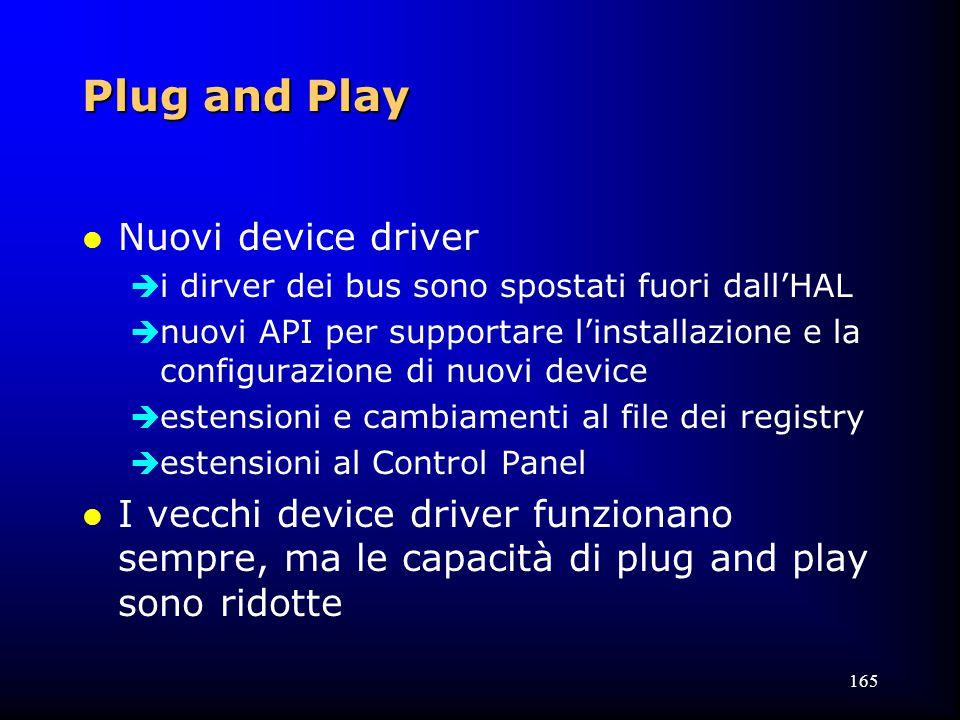 165 Plug and Play l Nuovi device driver  i dirver dei bus sono spostati fuori dall'HAL  nuovi API per supportare l'installazione e la configurazione di nuovi device  estensioni e cambiamenti al file dei registry  estensioni al Control Panel l I vecchi device driver funzionano sempre, ma le capacità di plug and play sono ridotte