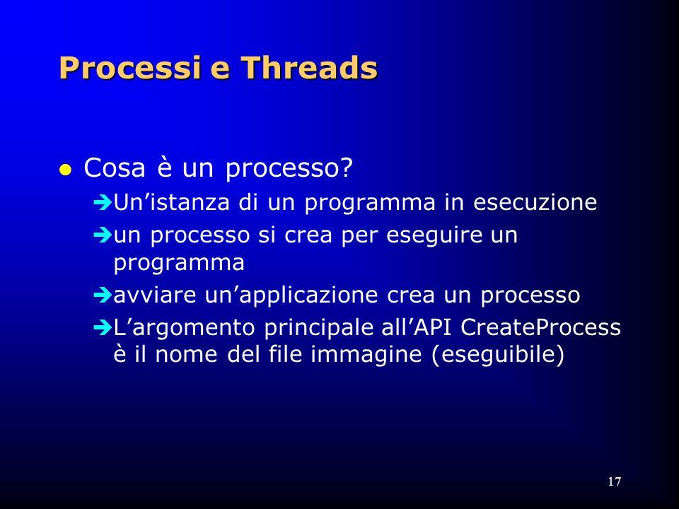 17 Processi e Threads l Cosa è un processo.