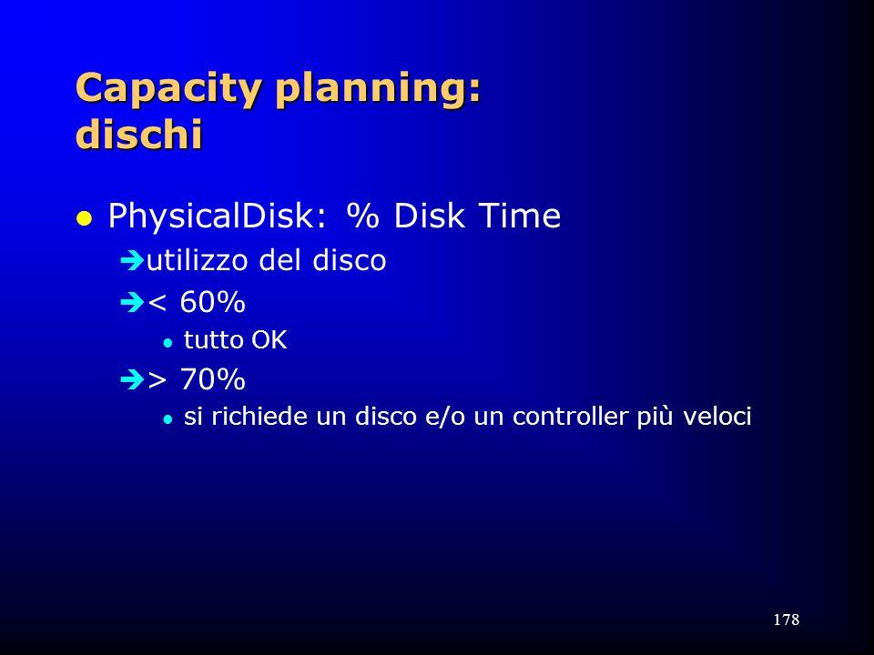 178 Capacity planning: dischi l PhysicalDisk: % Disk Time  utilizzo del disco  < 60% l tutto OK  > 70% l si richiede un disco e/o un controller più veloci
