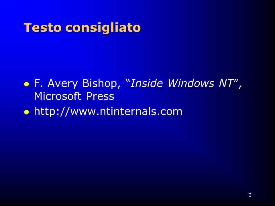 73 Environment Subsystems: Win32 l Kernel Mode Win32 Device Driver  gestore delle finestre (Windows manager) l gestisce gli eventi associati alle finestre (mouse, tastiera, resize, ecc.)  Graphical Device Interface (GDI) l una libreria di funzioni per i dispositivi di output grafici generici (funzioni per line, testo, ecc.)  insieme di device driver per la grafica l (video e stampanti)  parecchie subsystem DLL l traducono le Win32 API nelle appropriate chiamate a NTOSKRNL.EXE e WIN32K.SYS