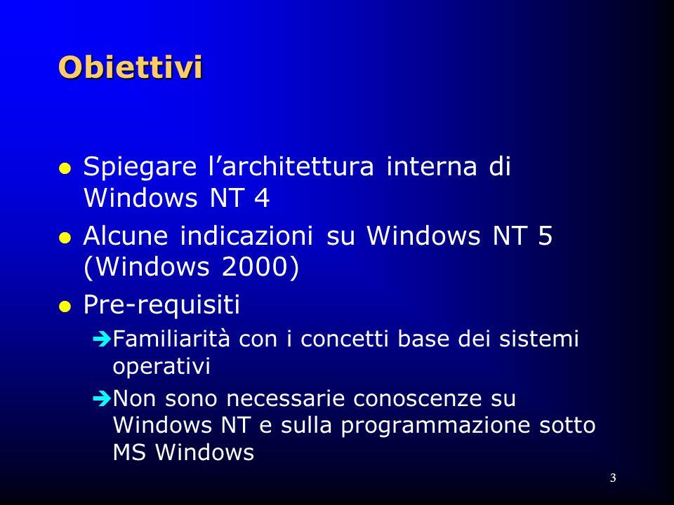 44 Windows NT Kernel l Il kernel differisce dall'executive l Non è mai paginato dalla memoria l La sua esecuzione non è mai interrotta da altre thread  ad eccezione delle ISR l Non verifica mai la correttezza dei parametri di chi chiama le sue funzioni l Non implementare politiche di gestione  tranne per il thread scheduling