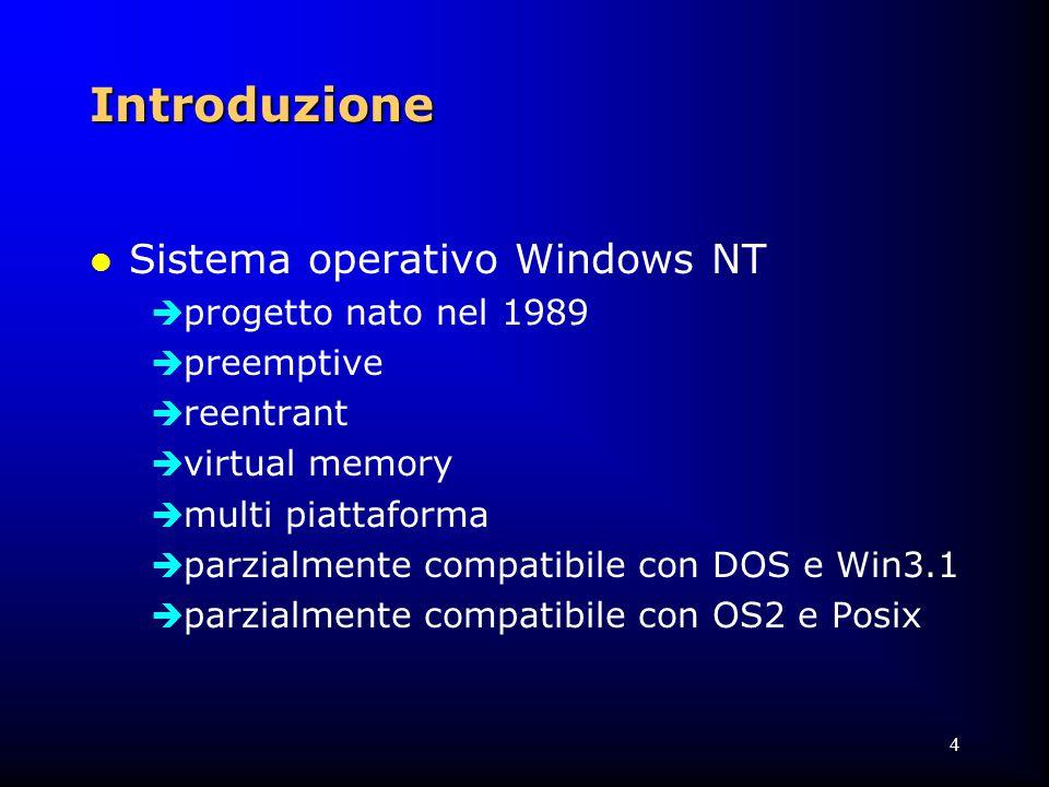4 Introduzione l Sistema operativo Windows NT  progetto nato nel 1989  preemptive  reentrant  virtual memory  multi piattaforma  parzialmente compatibile con DOS e Win3.1  parzialmente compatibile con OS2 e Posix