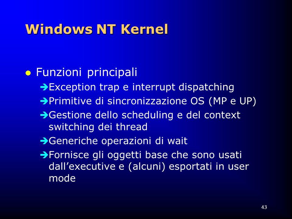 43 Windows NT Kernel l Funzioni principali  Exception trap e interrupt dispatching  Primitive di sincronizzazione OS (MP e UP)  Gestione dello scheduling e del context switching dei thread  Generiche operazioni di wait  Fornisce gli oggetti base che sono usati dall'executive e (alcuni) esportati in user mode
