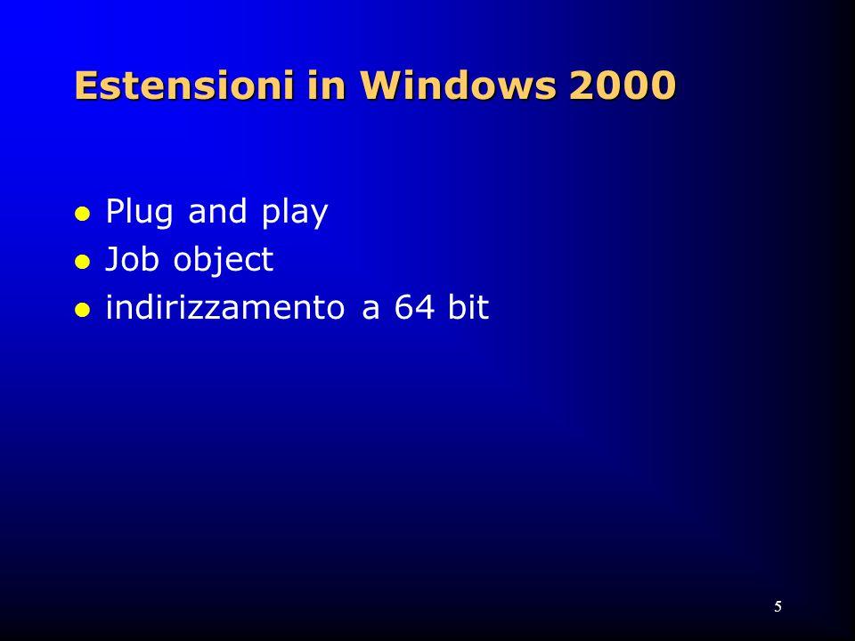 126 Process-Based Windows NT Code: System Startup Processes l SERVICES.EXE:Service Controller  Ospita molti servizi forniti con NT  Avvia altri processi (servizi) non parte di NT (elencati in \Registry\Machine\System\ CurrentControlSet\Services ) l LSASS.EXE: Local Security  Processo di autenticazione