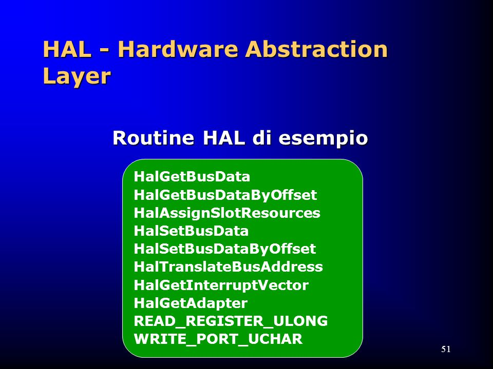 51 HalGetBusData HalGetBusDataByOffset HalAssignSlotResources HalSetBusData HalSetBusDataByOffset HalTranslateBusAddress HalGetInterruptVector HalGetAdapter READ_REGISTER_ULONG WRITE_PORT_UCHAR Routine HAL di esempio HAL - Hardware Abstraction Layer