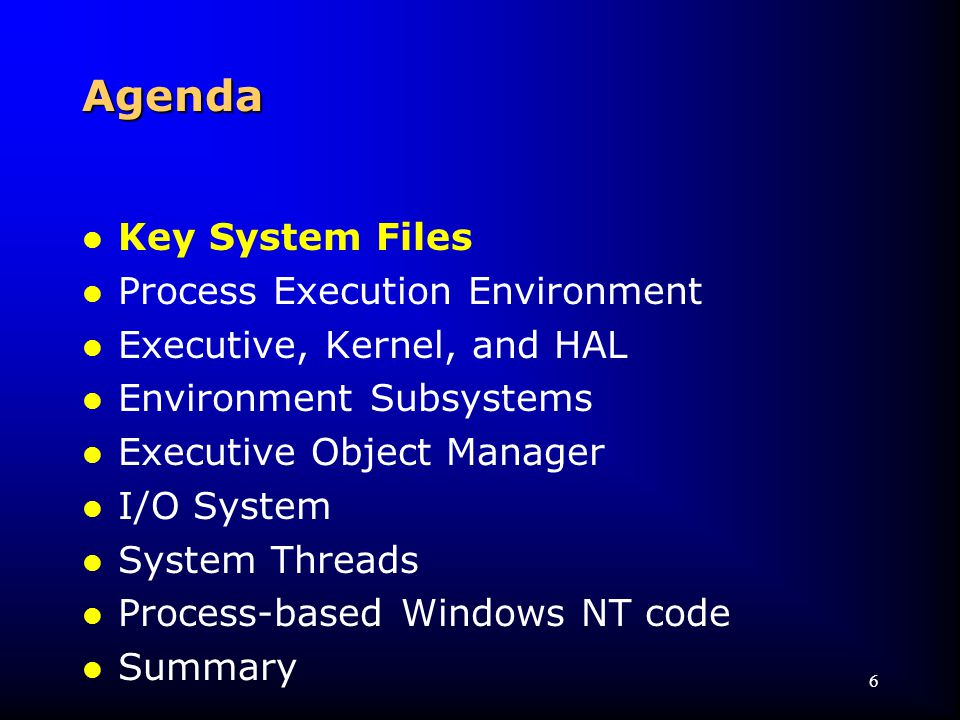 87 Agenda l Key System Files l Process Execution Environment l Executive, Kernel, and HAL l Environment Subsystems l Executive Object Manager l I/O System l System Threads l Process-based Windows NT code l Summary