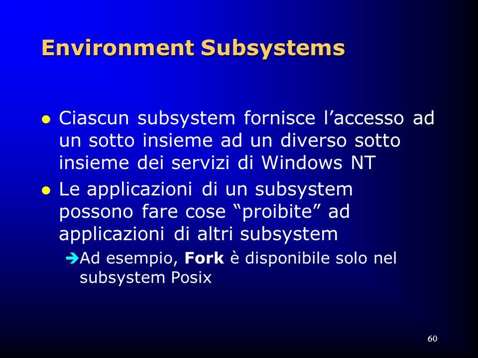 60 Environment Subsystems l Ciascun subsystem fornisce l'accesso ad un sotto insieme ad un diverso sotto insieme dei servizi di Windows NT l Le applicazioni di un subsystem possono fare cose proibite ad applicazioni di altri subsystem  Ad esempio, Fork è disponibile solo nel subsystem Posix