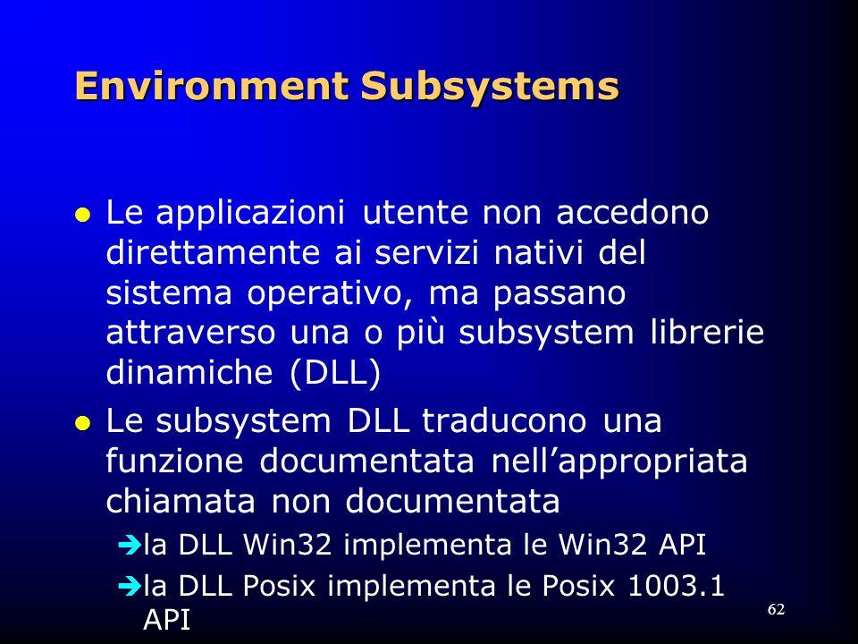 62 Environment Subsystems l Le applicazioni utente non accedono direttamente ai servizi nativi del sistema operativo, ma passano attraverso una o più subsystem librerie dinamiche (DLL) l Le subsystem DLL traducono una funzione documentata nell'appropriata chiamata non documentata  la DLL Win32 implementa le Win32 API  la DLL Posix implementa le Posix 1003.1 API