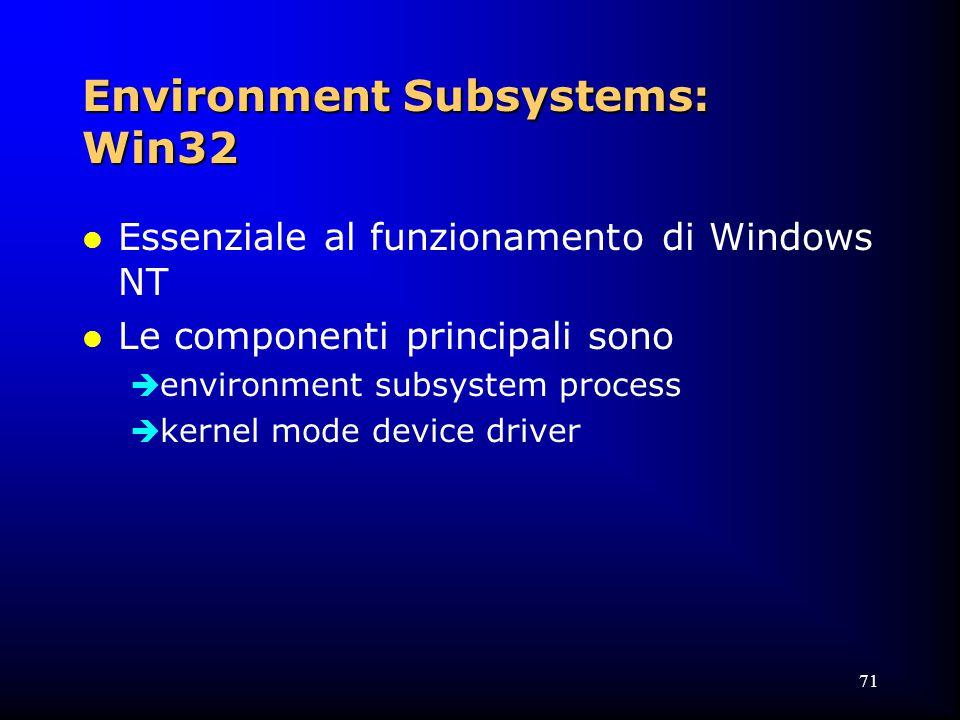 71 Environment Subsystems: Win32 l Essenziale al funzionamento di Windows NT l Le componenti principali sono  environment subsystem process  kernel mode device driver